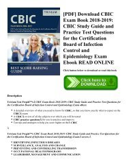 [PDF] Download CBIC Exam Book 2018-2019: CBIC Study Guide and Practice Test Questions for the Certification Board of Infection Control and Epidemiology Exam Ebook READ ONLINE