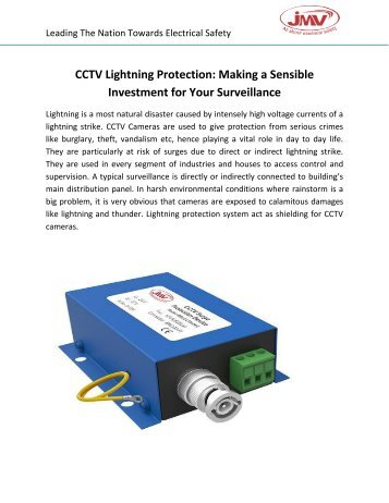 CCTV Lightning Protection: Making a Sensible Investment for Your Surveillance