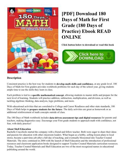 Pdf Download 180 Days Of Math For First Grade 180 Days Of