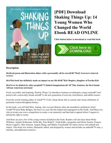 [PDF] Download Shaking Things Up: 14 Young Women Who Changed the World Ebook READ ONLINE