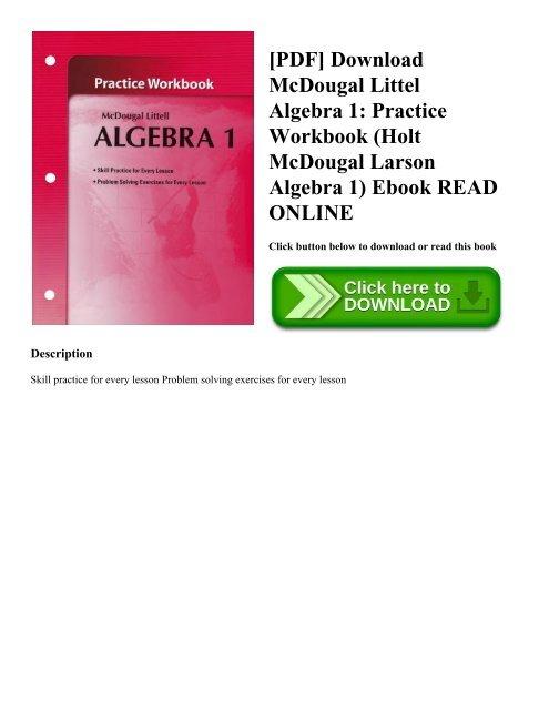 PDF] Download McDougal Littel Algebra 1: Practice Workbook