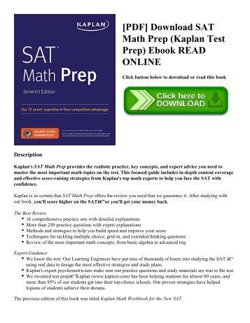 [PDF] Download SAT Math Prep (Kaplan Test Prep) Ebook READ ONLINE
