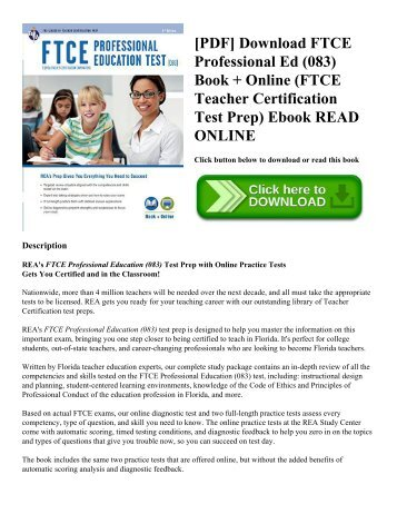 [PDF] Download FTCE Professional Ed (083) Book + Online (FTCE Teacher Certification Test Prep) Ebook READ ONLINE