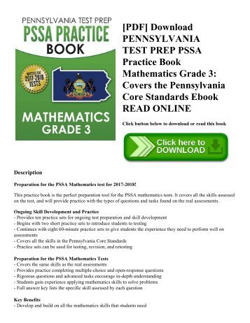 [PDF] Download PENNSYLVANIA TEST PREP PSSA Practice Book Mathematics Grade 3: Covers the Pennsylvania Core Standards Ebook READ ONLINE
