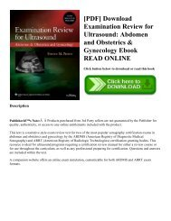 [PDF] Download Examination Review for Ultrasound: Abdomen and Obstetrics & Gynecology Ebook READ ONLINE
