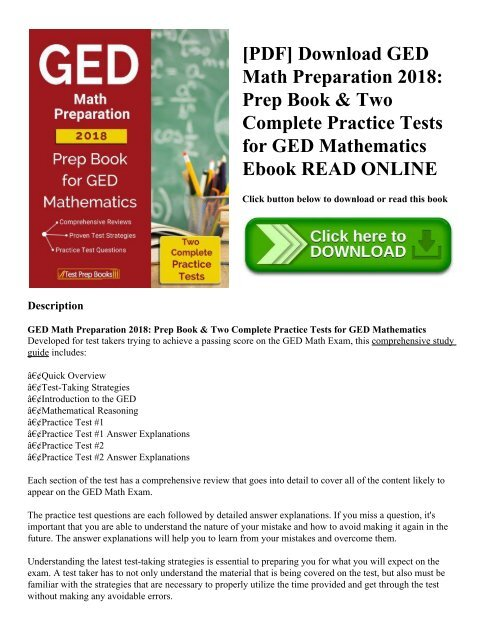 PDF] Download GED Math Preparation 2018: Prep Book & Two Complete