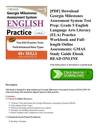 [PDF] Download Georgia Milestones Assessment System Test Prep: Grade 5 English Language Arts Literacy (ELA) Practice Workbook and Full-length Online Assessments: GMAS Study Guide Ebook READ ONLINE