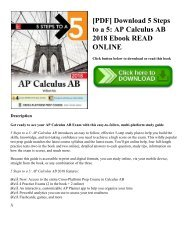 [PDF] Download 5 Steps to a 5: AP Calculus AB 2018 Ebook READ ONLINE