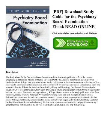[PDF] Download Study Guide for the Psychiatry Board Examination Ebook READ ONLINE