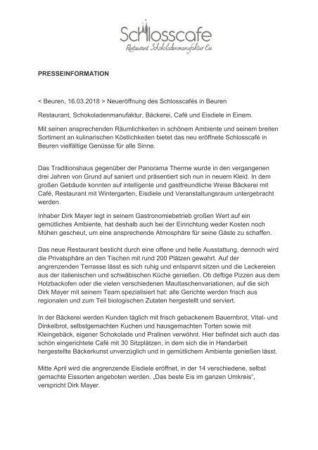 Neueröffnung des Schlosscafe in Beuren
