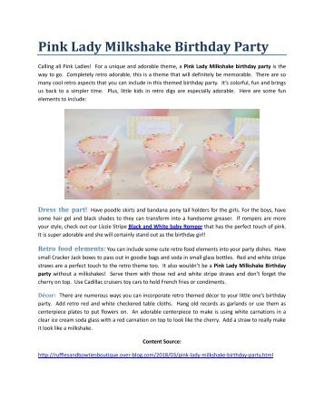 Pink Lady Milkshake Birthday Party