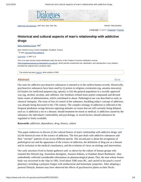 Historical and cultural aspects of man's relationship with addictive drugs