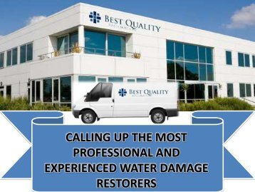 Most Professional and Experienced Water Damage Restorers