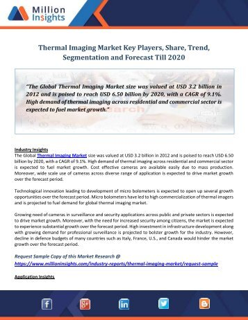 Thermal Imaging Market Key Players, Share, Trend, Segmentation and Forecast Till 2020
