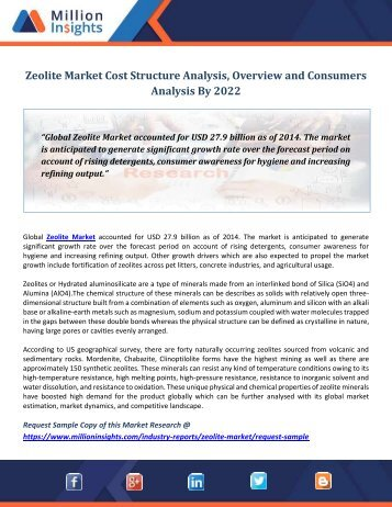 Zeolite Market Cost Structure Analysis, Overview and Consumers Analysis By 2022