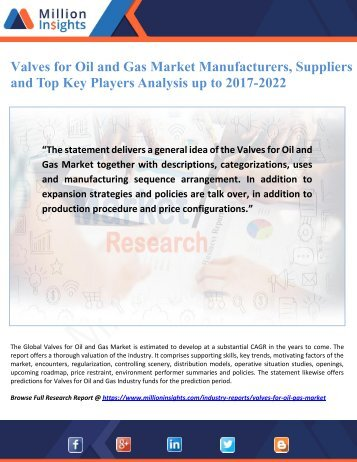 Valves for Oil and Gas Market Manufacturers, Suppliers and Top Key Players Analysis up to 2017-2022