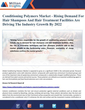 Conditioning Polymers Market - Rising Demand For Hair Shampoos And Hair Treatment Facilities Are Driving The Industry Growth By 2022
