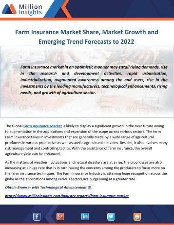 Farm Insurance Market Share, Market Growth and Emerging Trend Forecasts to 2022