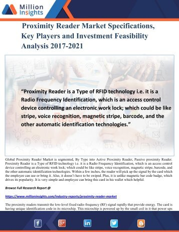 Proximity Reader Market Specifications, Key Players and Investment Feasibility Analysis 2017-2021