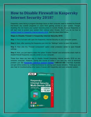 Call 1-800-431-454 to Disable Firewall in Kaspersky Internet Security 2018