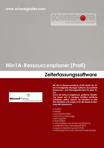Win1A-Ressourcenplaner _Profi_ - SCHWEIGHOFER Manager