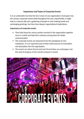 Importance and Types of Corporate Events