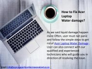 How to Fix Acer Laptop water damage?