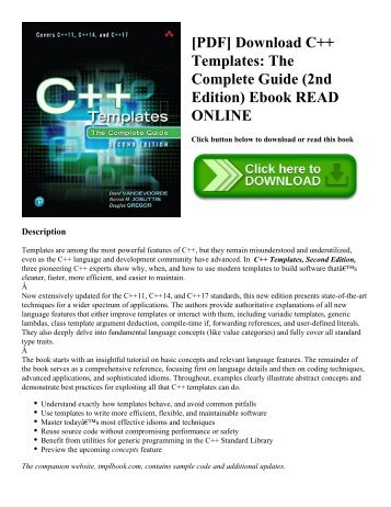 [PDF] Download C++ Templates: The Complete Guide (2nd Edition) Ebook READ ONLINE