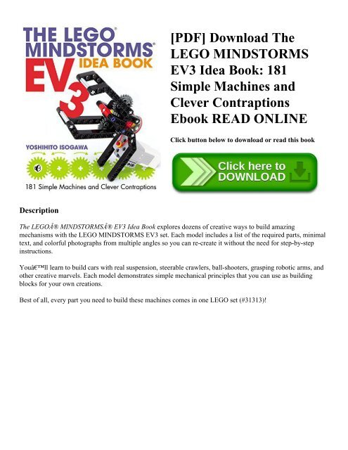 Pdf Download The Lego Mindstorms Ev3 Idea Book 181 Simple Machines