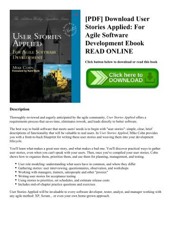 [PDF] Download User Stories Applied: For Agile Software Development Ebook READ ONLINE