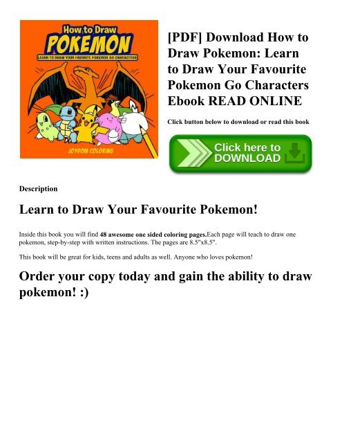 PDF] Download How to Draw Pokemon: Learn to Draw Your