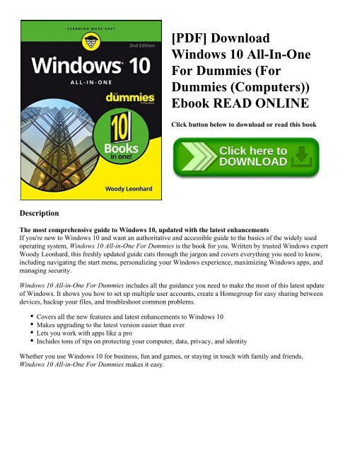 Pdf Download Windows 10 All In One For Dummies For Dummies