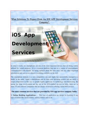 What Solutions To Expect From An IOS APP Development Services Company