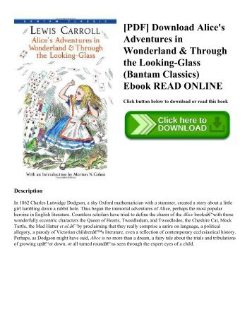 [PDF] Download Alice's Adventures in Wonderland & Through the Looking-Glass (Bantam Classics) Ebook READ ONLINE
