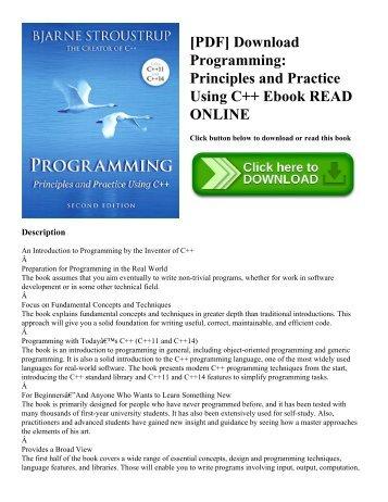 [PDF] Download Programming: Principles and Practice Using C++ Ebook READ ONLINE