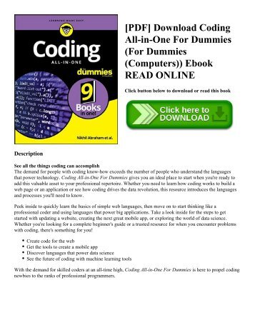 [PDF] Download Coding All-in-One For Dummies (For Dummies (Computers)) Ebook READ ONLINE