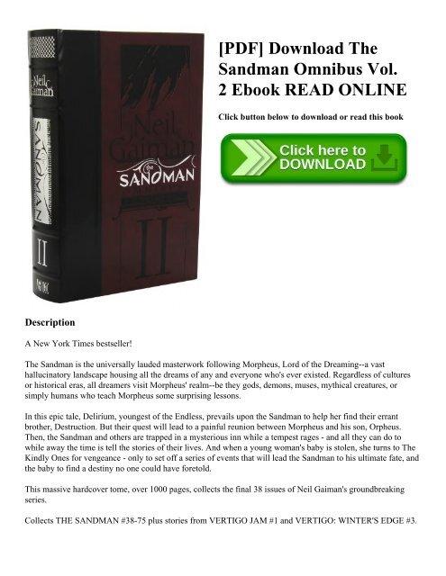 Pdf Download The Sandman Omnibus Vol 2 Ebook Read Online