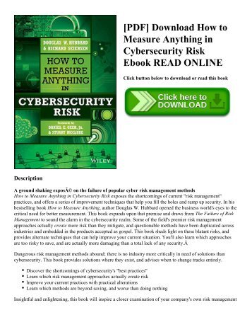 [PDF] Download How to Measure Anything in Cybersecurity Risk Ebook READ ONLINE