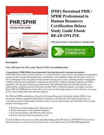 [PDF] Download PHR / SPHR Professional in Human Resources Certification Deluxe Study Guide Ebook READ ONLINE