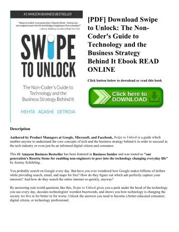 Pdf download swipe to unlock the non coders guide to technology pdf download swipe to unlock the non coders guide to technology and the business strategy behind it ebook read online fandeluxe Choice Image