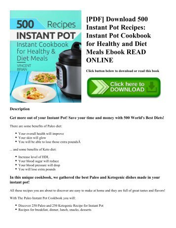 [PDF] Download 500 Instant Pot Recipes: Instant Pot Cookbook for Healthy and Diet Meals Ebook READ ONLINE