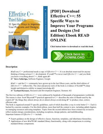 [PDF] Download Effective C++: 55 Specific Ways to Improve Your Programs and Designs (3rd Edition) Ebook READ ONLINE