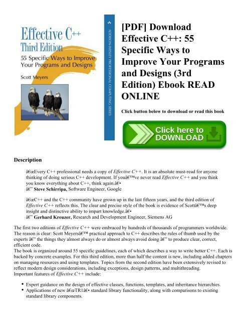 PDF] Download Effective C++: 55 Specific Ways to Improve