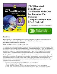 [PDF] Download CompTIA A+ Certification All-in-One For Dummies (For Dummies (Computer/tech)) Ebook READ ONLINE