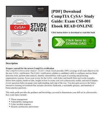 [PDF] Download CompTIA CySA+ Study Guide: Exam CS0-001 Ebook READ ONLINE