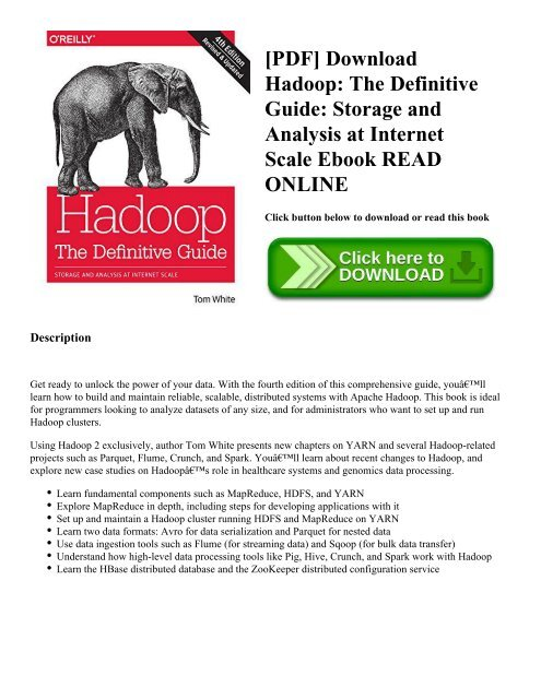 The Definitive Guide Storage and Analysis at Internet Scale Hadoop