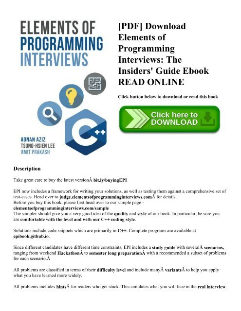 PDF] Download Elements of Programming Interviews: The