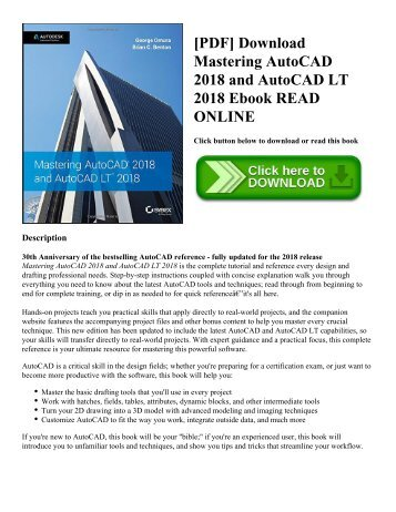 [PDF] Download Mastering AutoCAD 2018 and AutoCAD LT 2018 Ebook READ ONLINE