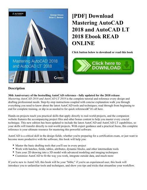 PDF] Download Mastering AutoCAD 2018 and AutoCAD LT 2018 Ebook READ