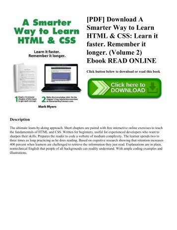 [PDF] Download A Smarter Way to Learn HTML & CSS: Learn it faster. Remember it longer. (Volume 2) Ebook READ ONLINE